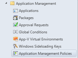Console - Application Management Policies