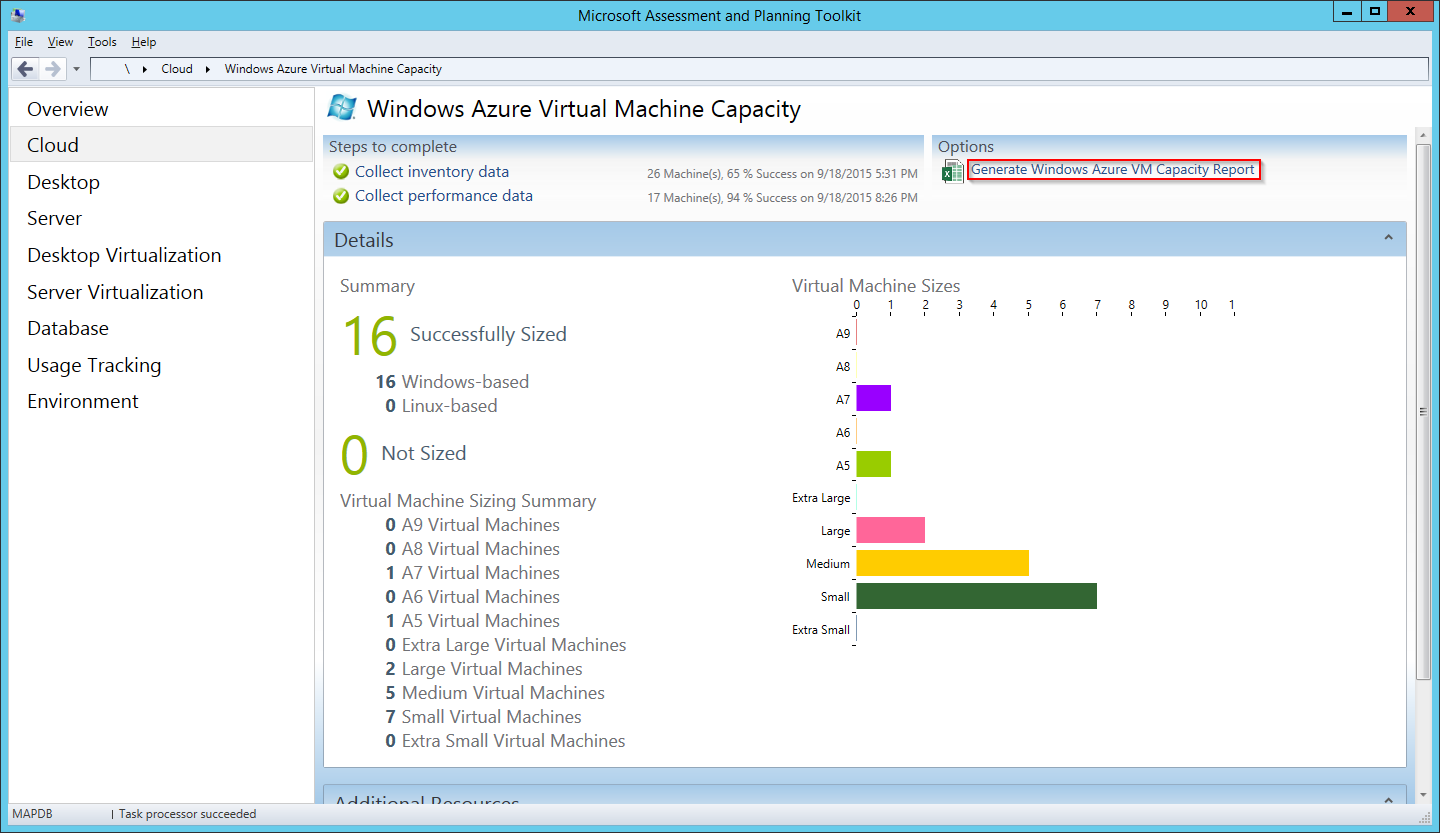 MAP Toolkit - Azure VM Capacity - Report Link