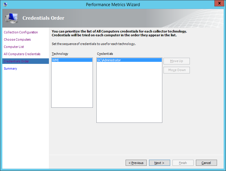 MAP Toolkit - How To Performance - Performance Metrics Wizard - Credentials Order