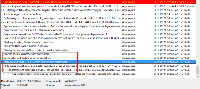 Deploying Office365 ProPlus with SCCM Fails to Detect Installation Completed Successfully