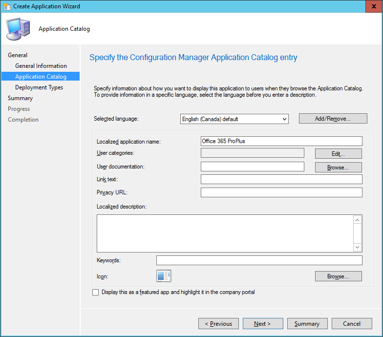 SCCM - Create Application Wizard - Application Catalog