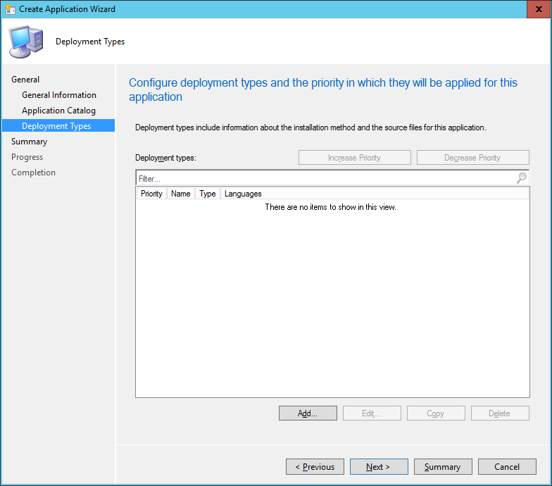 SCCM - Create Application Wizard - Deployment Type