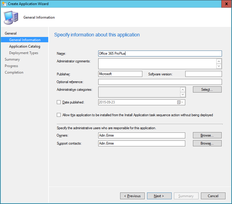 SCCM - Create Application Wizard - General Information