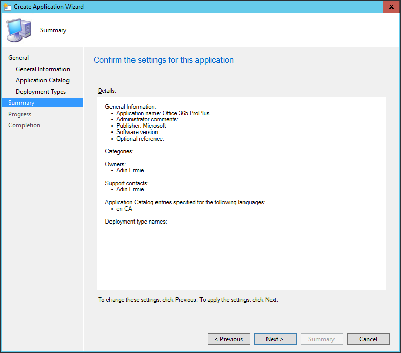 SCCM - Create Application Wizard - Summary