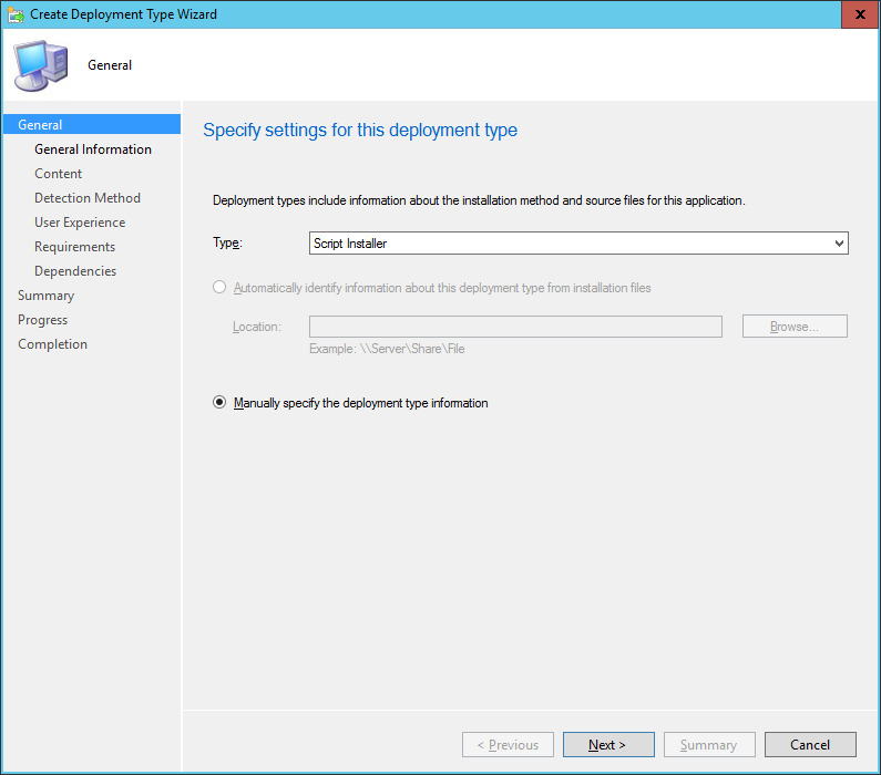 SCCM - Create Deployment Type Wizard - General