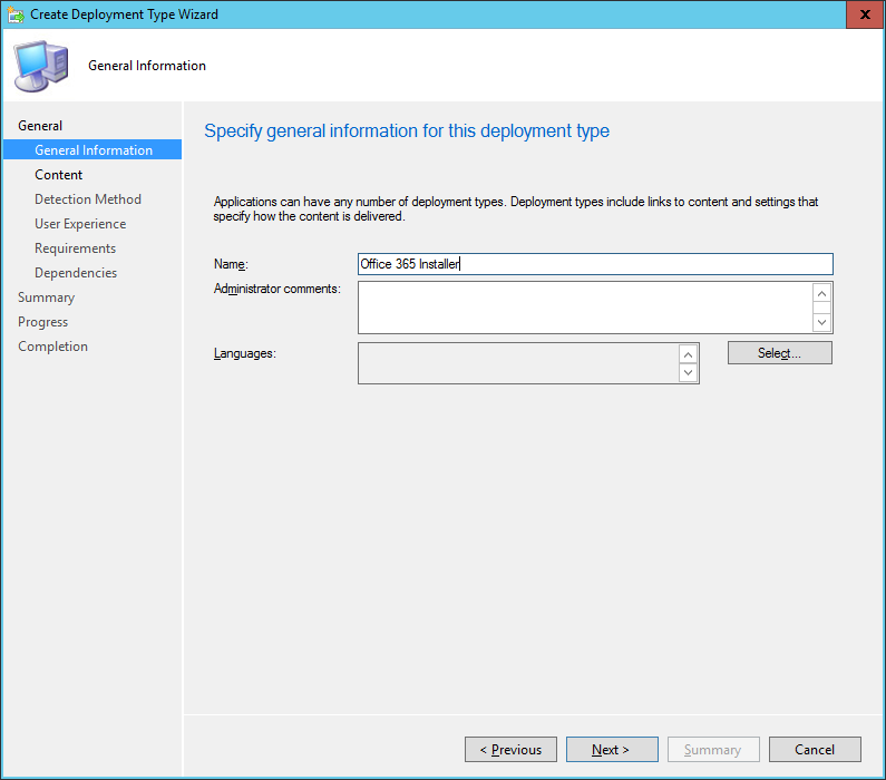 SCCM - Create Deployment Type Wizard - General Information