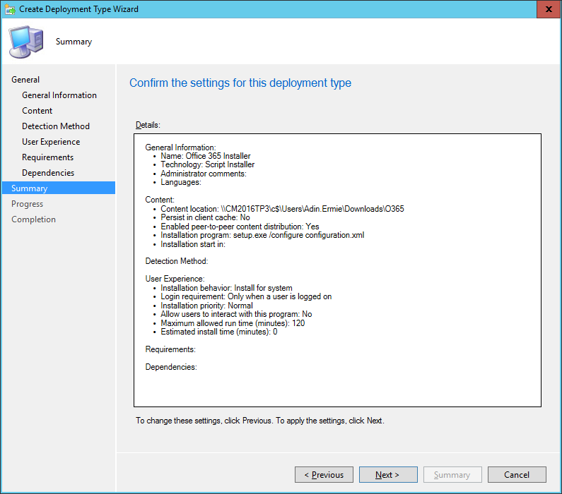 SCCM - Create Deployment Type Wizard - Summary
