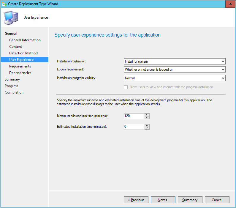 SCCM - Create Deployment Type Wizard - User Experience