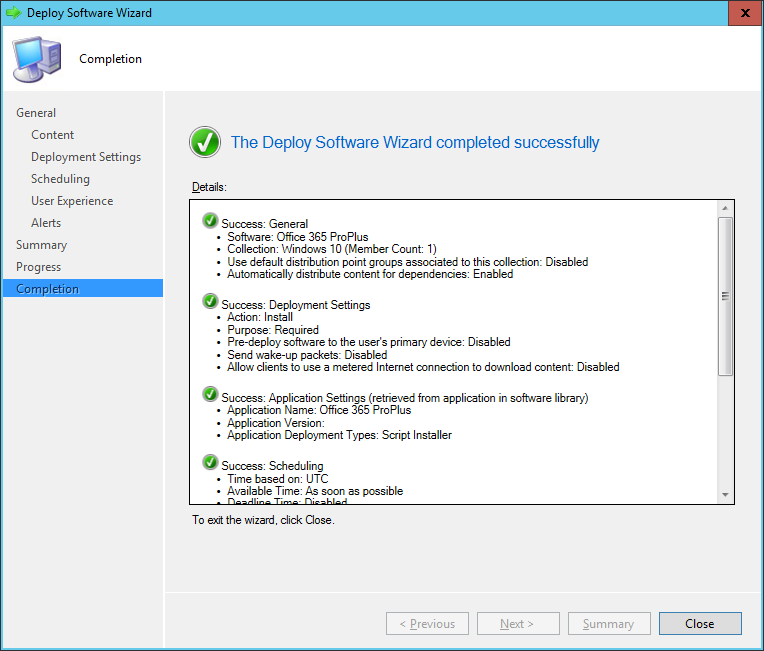 SCCM - Deploy Software Wizard - Complete