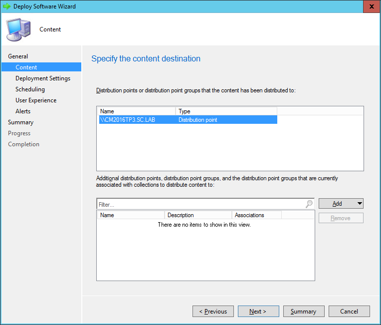 SCCM - Deploy Software Wizard - Content