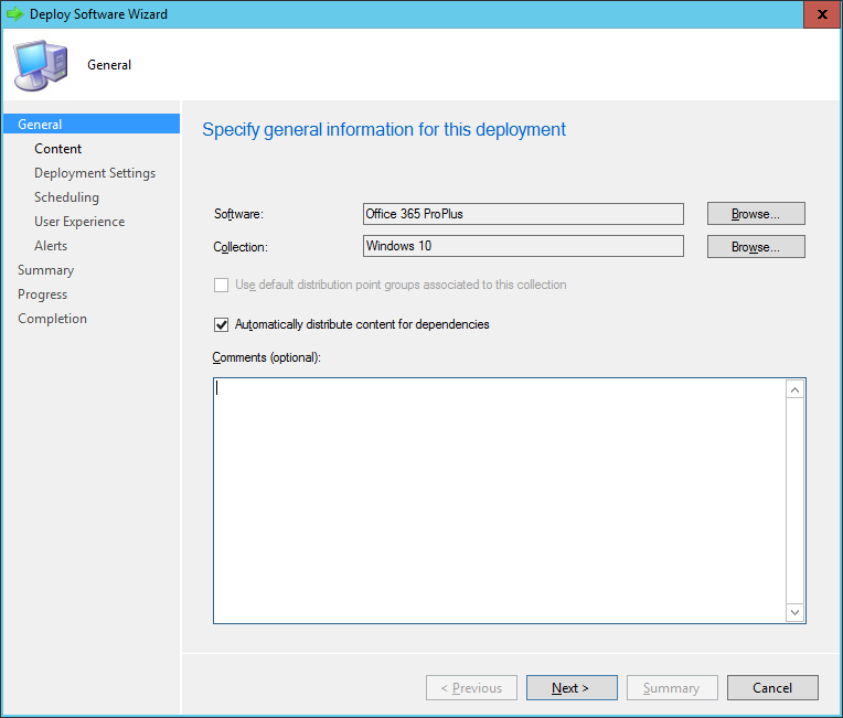 SCCM - Deploy Software Wizard - General