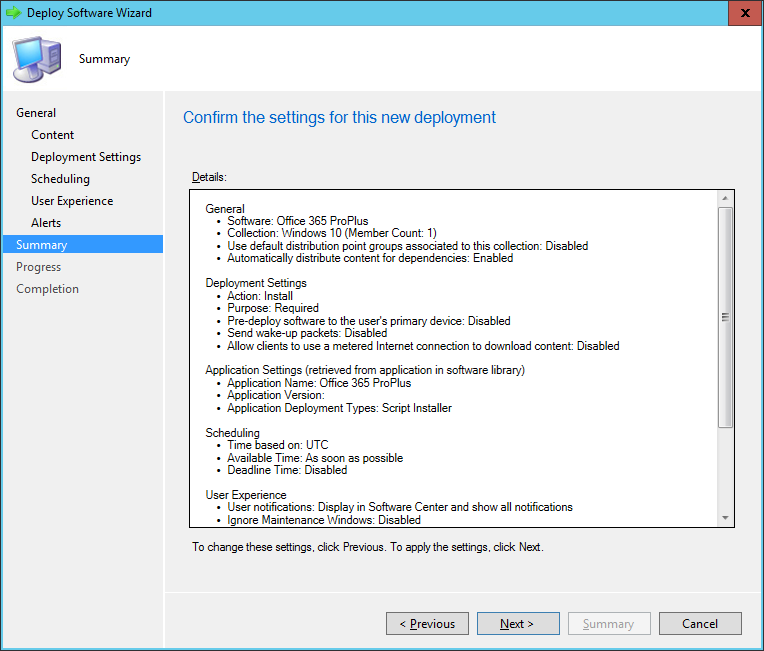 SCCM - Deploy Software Wizard - Summary