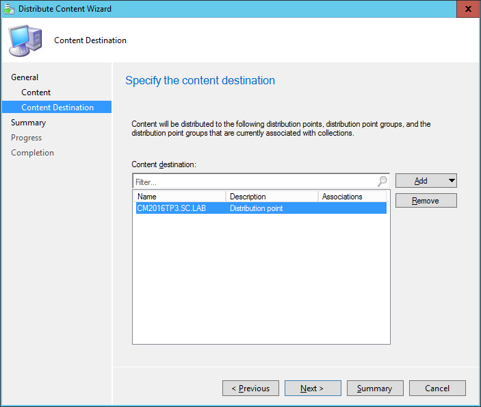 SCCM - Distribute Content Wizard - Content Destination