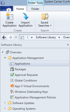 SCCM - Software Library - Applications