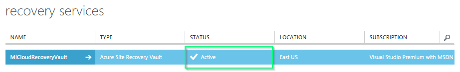Azure - Site Recovery Vault - Active