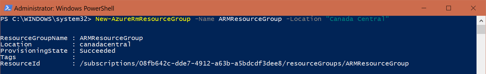 ARM Template - PowerShell - New Resource Group