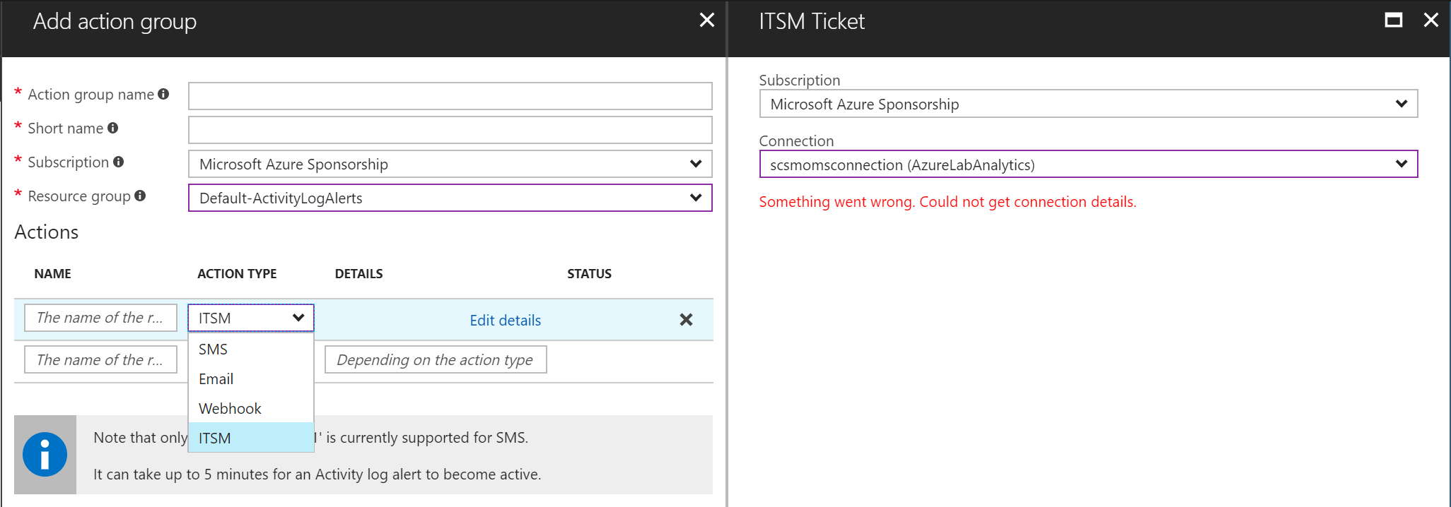Azure Monitor - Action Groups -Add New