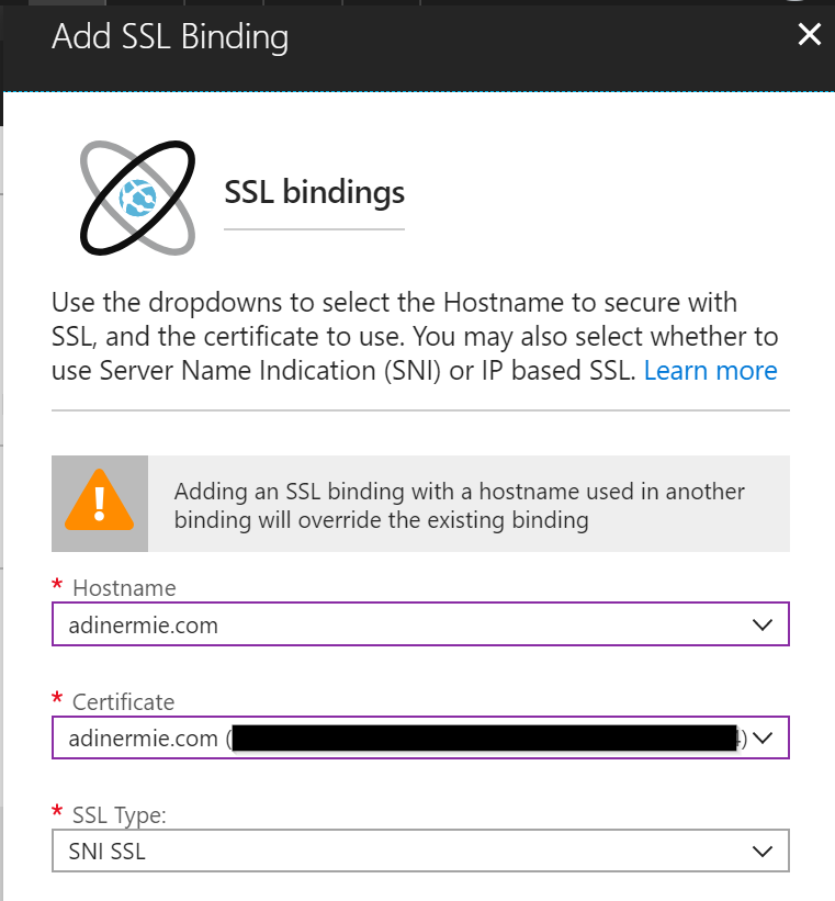 Web App - Add SSL Binding