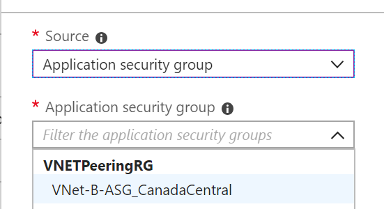 Using Application Security Groups (ASGs) with VNet Peering and Their Limitations