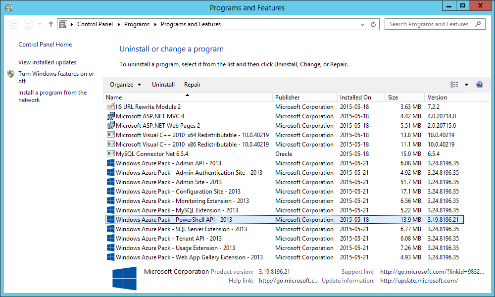 Windows Azure Pack (WAP) - Programs and Features - PowerShell API