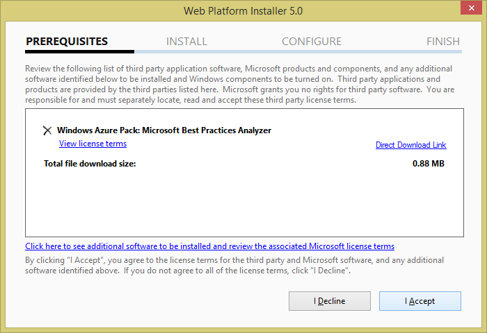 Web Platform Installer - License Agreement