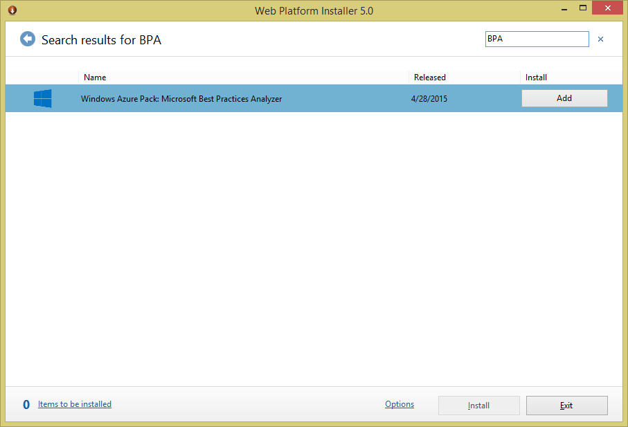 Windows Azure Pack (WAP) - Best Practice Analyzer (BPA) - Web Platform Installer