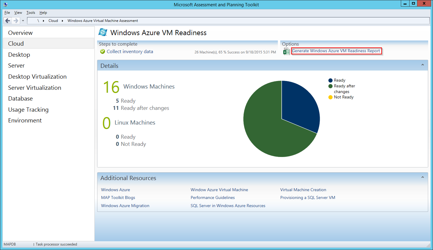 MAP Toolkit - Azure VM Readiness - Report Link