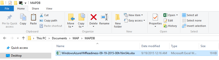 MAP Toolkit - Azure VM Readiness - Report Location