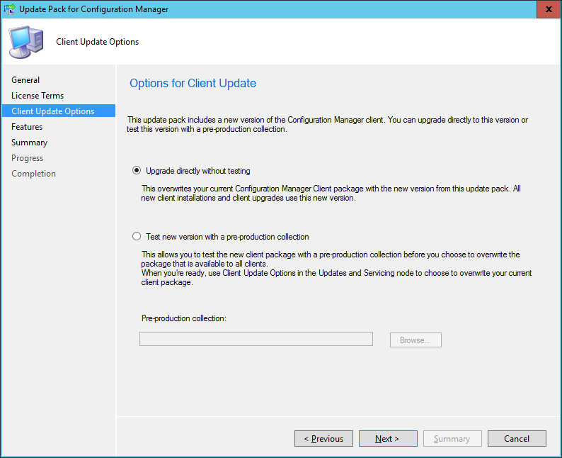SCCM 2016 TP3 U1509 - Update Pack Wizard - Client Upgrade Options