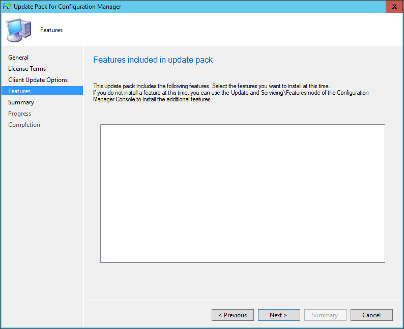 SCCM 2016 TP3 U1509 - Update Pack Wizard - Features