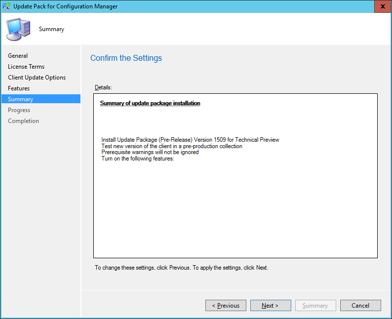SCCM 2016 TP3 U1509 - Update Pack Wizard - Summary