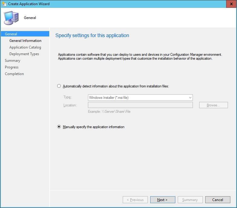 SCCM - Create Application Wizard - General