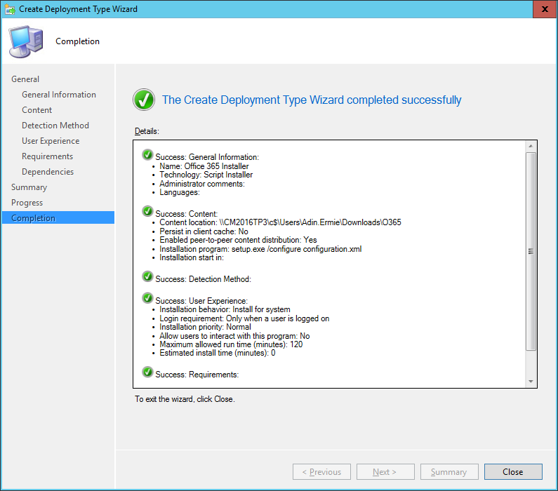 SCCM - Create Deployment Type Wizard - Complete