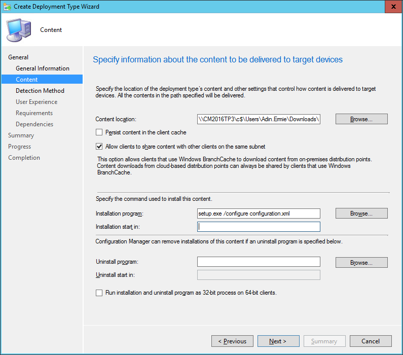 SCCM - Create Deployment Type Wizard - Content