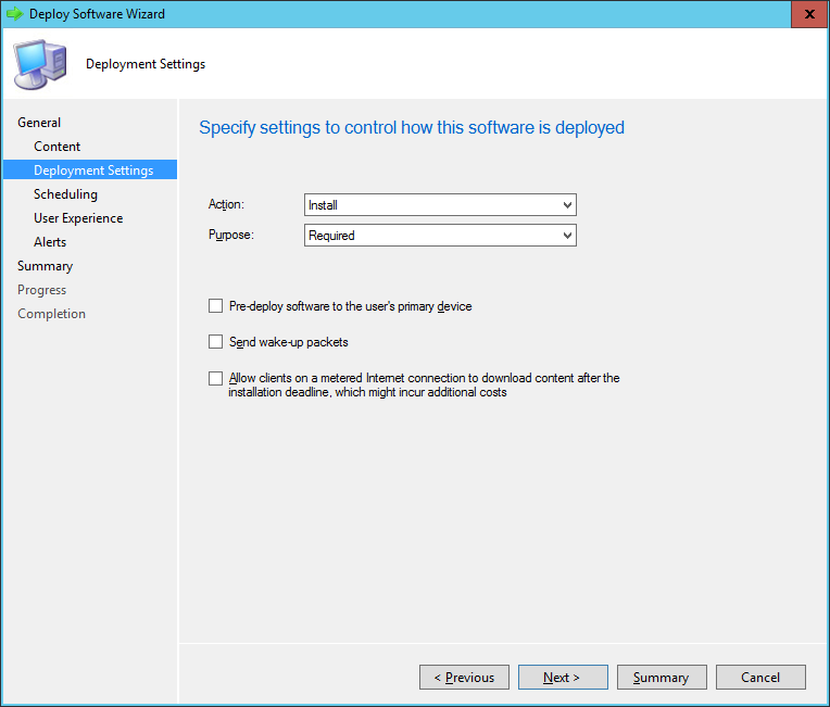 SCCM - Deploy Software Wizard - Deployment Settings