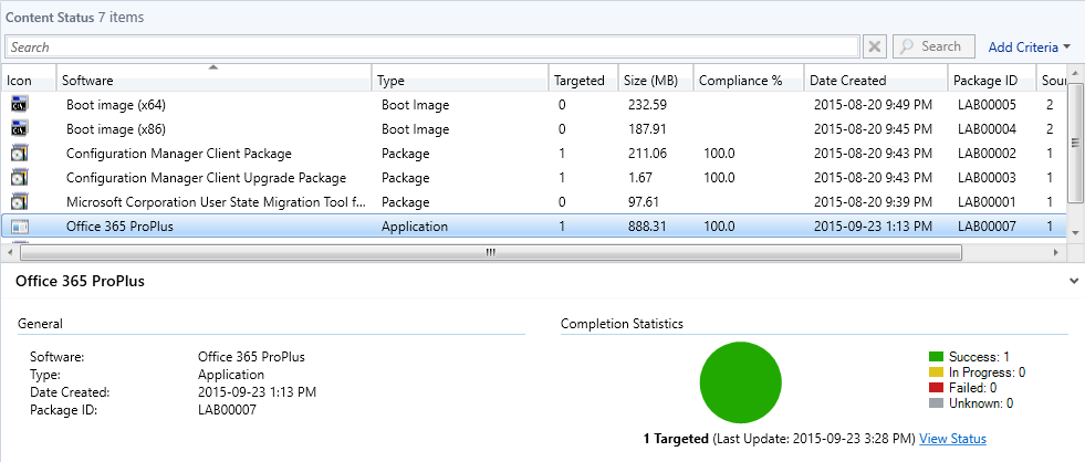 SCCM - Distribute Content - Application Content Status