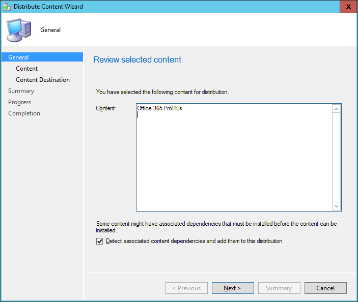 SCCM - Distribute Content Wizard - General