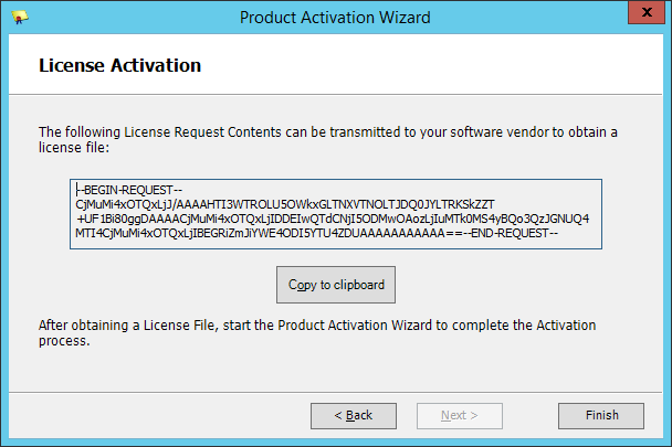 Squared Up - Product Activation Wizard - License Request Contents