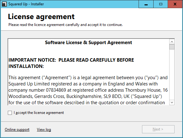 SquaredUp - Install 02 - License Agreement