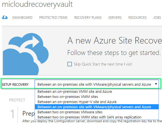 Azure - Site Recovery Vault - Setup Recovery Selection