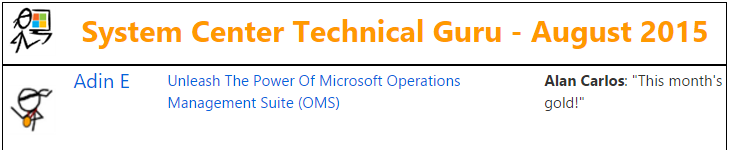 TechNet Wiki Guru Award - System Center - August 2015