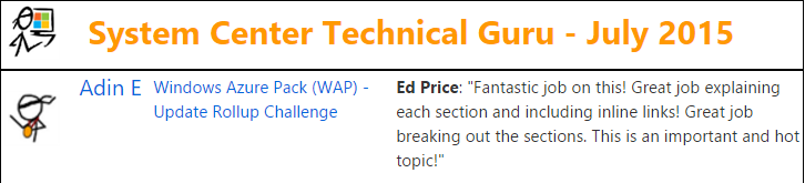 TechNet Wiki Guru Award - System Center - July 2015