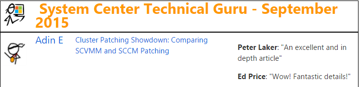 TechNet Wiki Guru Award - System Center - September 2015