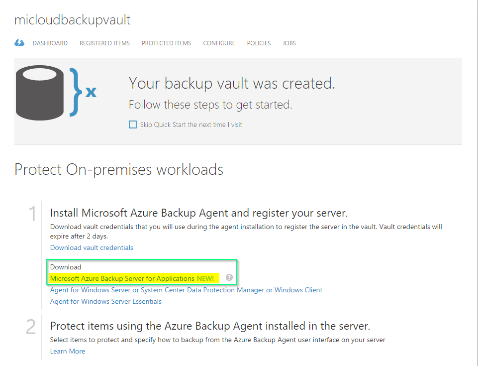 MABS - Azure Backup Vault Dashboard