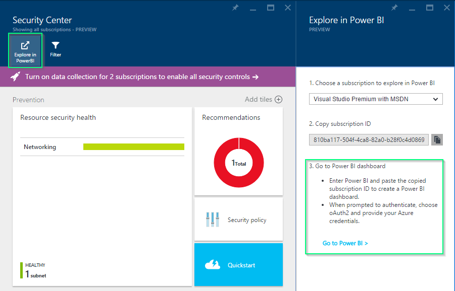 Azure Security Center - PowerBI
