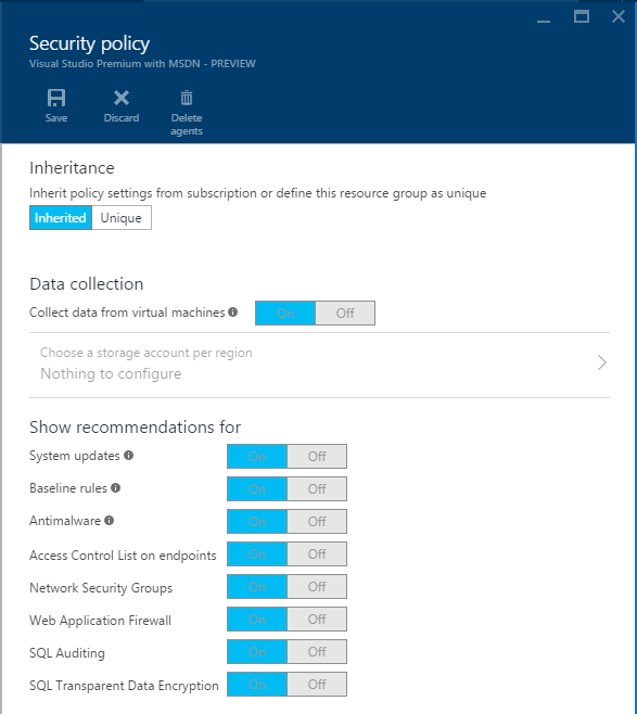 Azure Security Center - Security Policy