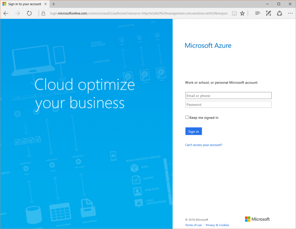 Azure Portal - Login Prompt