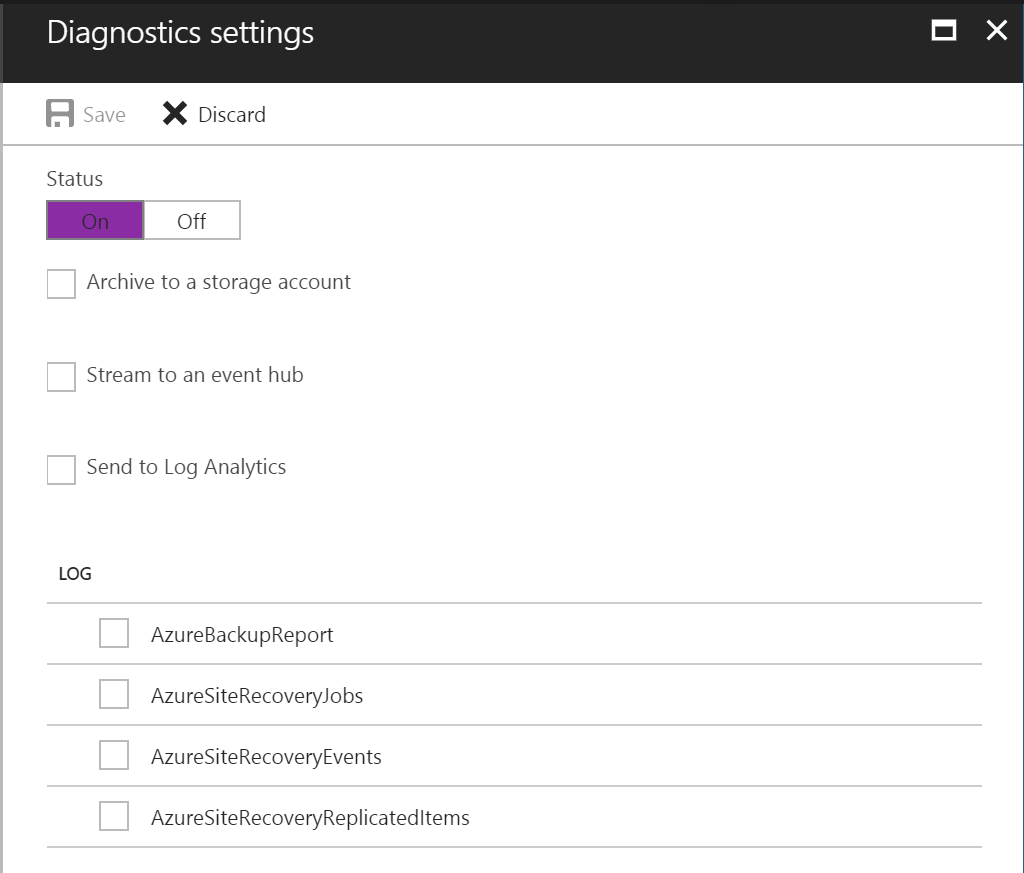 Azure Backup Reports - Diagnostics Settings Detailed