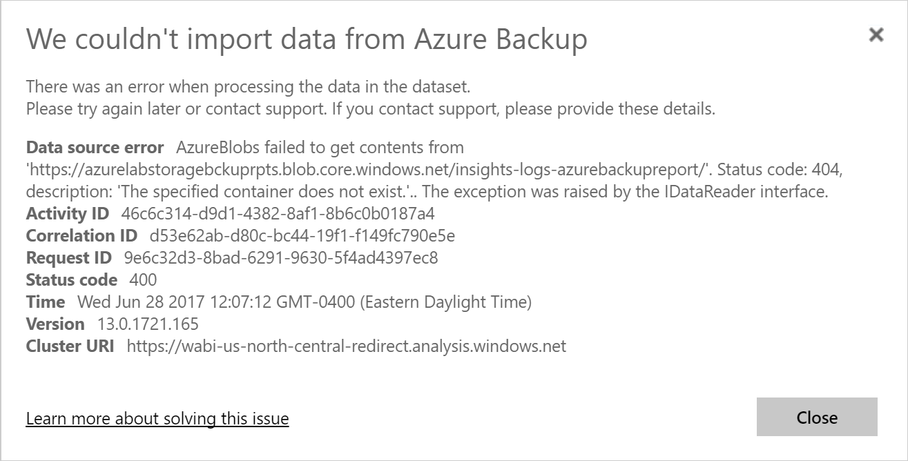Azure Backup Reports - PowerBI - Storage Connection Error