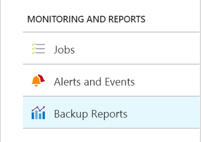 Azure Backup Reports - Settings Blade